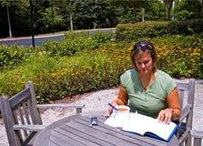 study för 6 lunch utomhus fotografering för bildbyråer