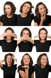 study för kvinnlig för teckenuttryck ansikts- Royaltyfri Bild
