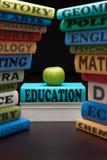study för skola för äpplebokutbildning Arkivfoto