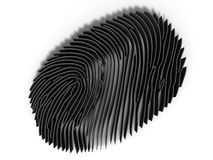 Study fingerprint through a magnifying glass, concept of criminology and criminal law, 3d render Stock Images