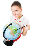 Study geography. Happy geography teacher young woman hold globe and smlie royalty free stock photography