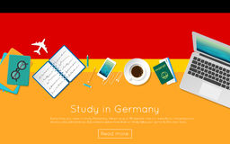 Study in Germany concept for your web banner or. Study in Germany concept for your web banner or print materials. Top view of a laptop, books and coffee cup on Royalty Free Stock Images