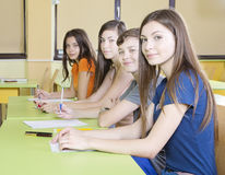 Study group. Happy young student at university class Stock Image
