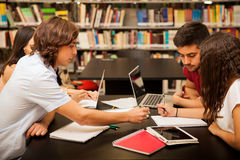 Study group in a library Stock Photo