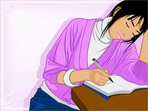 Study hard. Young beautiful woman sitting and writing at table Royalty Free Stock Photography