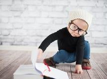Study hard with nerd glasses stock photo