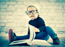 Study hard with nerd glasses. And hat Stock Photography