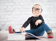 Study hard with nerd glasses. And hat Stock Image