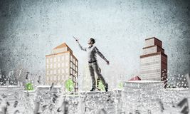 Study hard to become successful businessman. stock illustration