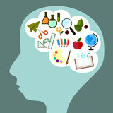 Study icon in brain. Vector icon in cute design about school and study in pattern of kid brain Stock Photo