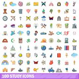 100 study icons set, cartoon style. 100 study icons set. Cartoon illustration of 100 study vector icons isolated on white background Royalty Free Stock Images