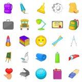 Study icons set, cartoon style Royalty Free Stock Photo