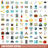 100 study icons set, flat style. 100 study icons set in flat style for any design vector illustration Royalty Free Stock Image
