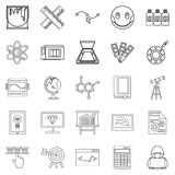 Study icons set, outline style Royalty Free Stock Photo
