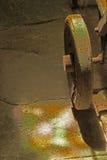 Study of iron cart with rainbow light. Stock Photo