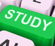 Study Key Shows Online Learning Or Education. Study Key Showing Online Learning Or Education Stock Images