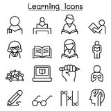 Study, Learning, Education icon set in thin line style stock illustration