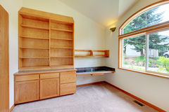 Study or library room with new build in furniture. Royalty Free Stock Image
