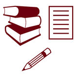 Study material icons Stock Image