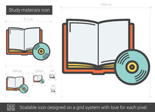Study materials line icon. Royalty Free Stock Photography