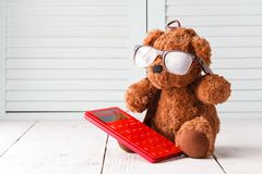 Study math with teddy bear Royalty Free Stock Photo