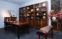 The study of the modern Chinese family. Furniture made of mahogany has been loved by the Chinese since ancient times. With the development of time, Chinese royalty free stock images