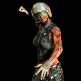 Study muscle woman Police Officer. 3D Rendering Study muscle woman Police Officer Royalty Free Stock Images