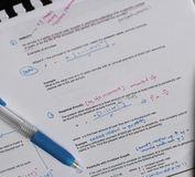 Study notes university. Finance school materials with pen & x28;insurance annuity& x29 stock photo