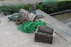 A study of old rope. For sale on a quayside Royalty Free Stock Photos