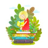 Reading Interesting Book in the Nature. Study or read kids colorful cartoon. Vector illustration vector illustration