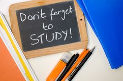 Study reminder concept. Reminder saying dont forget to study stock photos