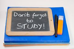 Study reminder concept. Reminder saying dont forget to study royalty free stock photography