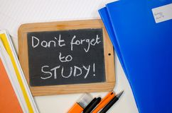 Study reminder concept. Reminder saying dont forget to study stock images