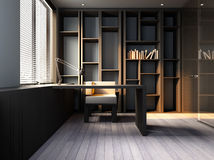 Study room. The 3D rendering the private office royalty free illustration
