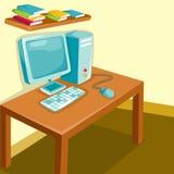 Study room. Illustration of cartoon study room Stock Photo