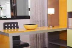 Study room. In orange color stock photos