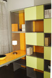 Study room. In orange color stock photography