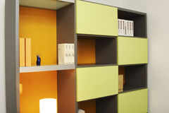 Study room. In orange color Stock Photo