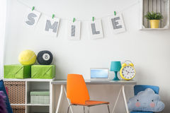 Study room arrangement. For teenager with white furniture Stock Photos