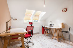 Study room at the attic stock photography
