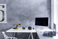 Study room with decorative wall finish idea royalty free stock images