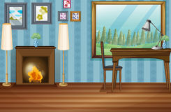 Study room. Illustration of a study room with fireplace Royalty Free Stock Photo