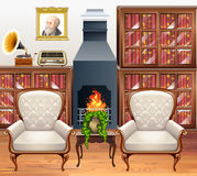 Study room with two armchairs. Illustration Stock Photo