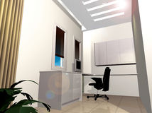 Study Room Workstation. A perspective view of a study room illustration plan Royalty Free Stock Photos