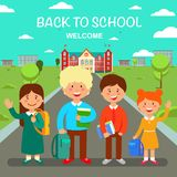 Study at School. Vector Flat Illustration. stock illustration