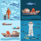 Study of sea and ocean, trucking, ships and fishing. Divers and lighthouse, flat vector Illustration Royalty Free Stock Images
