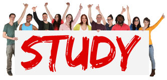 Study sign group of young students multi ethnic people holding b. Anner isolated Stock Photos