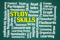 Study Skills. Word cloud on green background Stock Photos