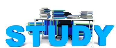 Study Stacks of books on desk. Stidy Multiple stacks of books on a desk Royalty Free Stock Photo