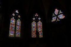 A study of stained glass windows, Auxerre,France Royaltyfria Foton